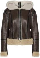 Calvin Klein Hooded Leather-trimmed Shearling Biker Jacket