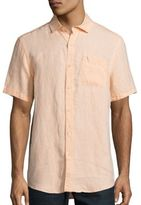 Saks Fifth Avenue Solid Short Sleeve Linen Shirt