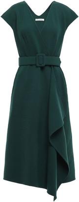 Oscar de la Renta Asymmetric Belted Wool-blend Wrap Dress