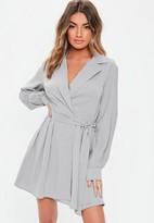 Missguided Gray Tie Belt Skater Shirt Dress