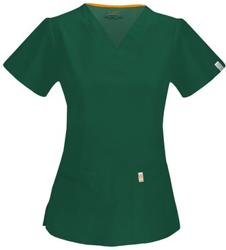 Code Happy Women's Fit and Flare V-Neck Scrub Top