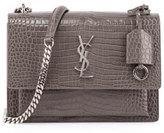 Saint Laurent Sunset Medium Crocodile-Embossed Crossbody Bag, Light Gray