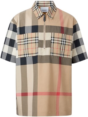 Burberry Panelled Check short-sleeve shirt