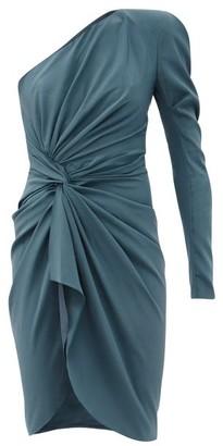 Alexandre Vauthier One-shoulder Draped Silk-blend Crepe Dress - Blue