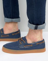 Asos Boat Shoes in Navy With Gum Sole