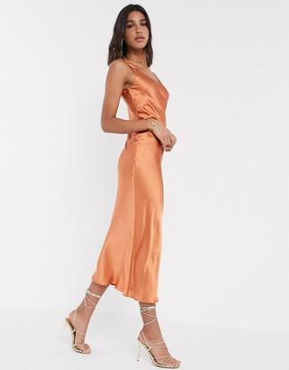 ASOS DESIGN scoop neck midi satin slip dress in rust
