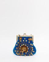 Moyna Velvet Clutch Bag With Gold Metal Beadwork