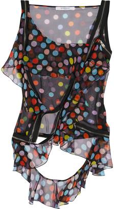 Givenchy Zip-detailed Polka-dot Silk-chiffon Blouse