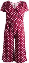 Glam Burgundy & White Polka Dot Tie-Waist Surplice Jumpsuit - Plus
