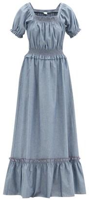 Loretta Caponi Stefania Shirred Cotton-chambray Maxi Dress - Blue