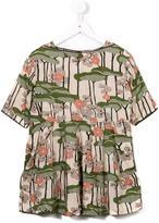 Caramel floral print dress