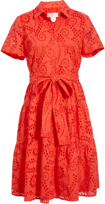 Rachel Parcell Tiered Eyelet Shirtdress