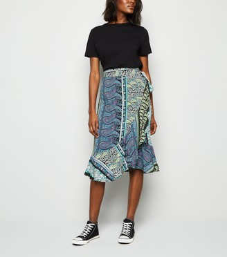 New Look JDY Paisley Midi Wrap Skirt