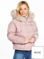 V By Very Petite Faux Fur Trim Padded Coat - Dusty Pink