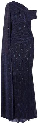 Talbot Runhof Rosedale navy cape-effect plisse gown