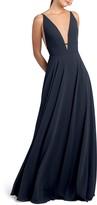 Jenny Yoo Plunge Neck Chiffon A-Line Gown