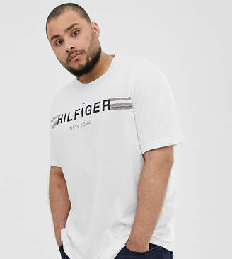 Big & Tall icon stripe chest logo t-shirt in white