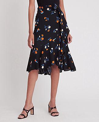 Ann Taylor Floral Wrap Flounce Skirt