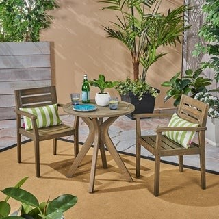 Christopher Knight Home Stamford Outdoor 5 Piece Acacia Wood Dining Set wit Straight Legged Dining Table
