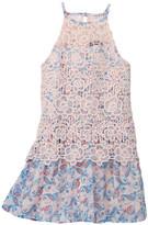 Trixxi Lace Popover Printed Chiffon Dress (Big Girls)