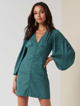 Forever New Rylie Button Detail Mini Dress - GREEN SLATE - 10