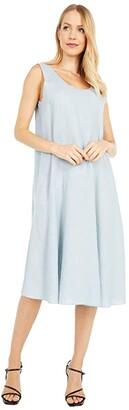 Eileen Fisher Petite Scoop Neck Knee Length Dress (Dawn) Women's Clothing