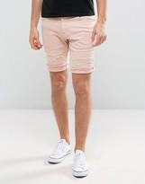 Asos Denim Shorts In Skinny Pink With Rip And Repair