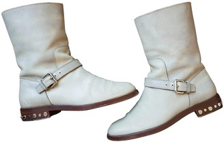Louis Vuitton Beige / Grey Leather Boots