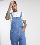 Asos Design DESIGN Tall denim overall shorts in mid wash
