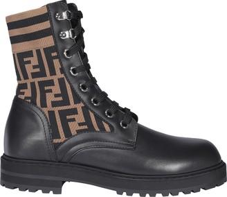 Fendi FF Motif Combat Boots