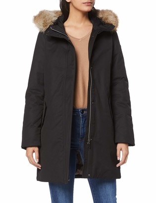Geox Women's Carum Long Parka with Faux Fur Hood Outerwear