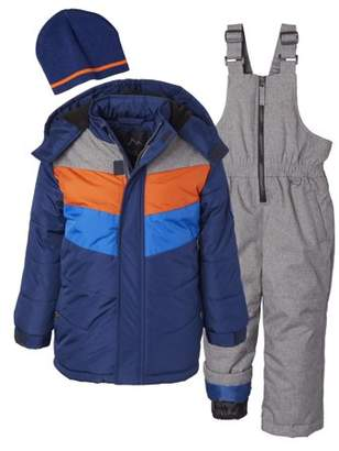 iXtreme Toddler Boy Colorblock Striped Winter Jacket Coat & Snow Bib Snow Pants with Free Gift Hat, 3pc Snowsuit Set