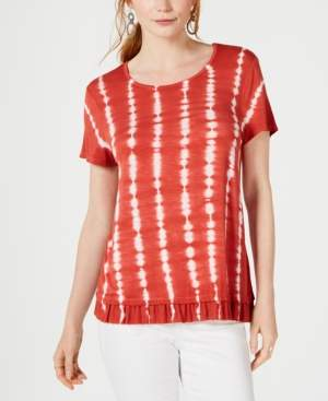 Style&Co. Style & Co Petite Tie-Dye Ruffle-Hem Top, Created for Macy's