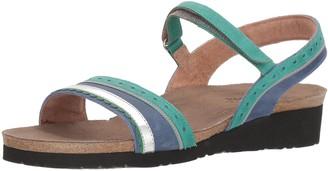 Naot Footwear Footwear's Women Beverly Sandal Oily Emerald Lthr/Oily Blue Nubuck/Silver Mirror Lthr 4 M US