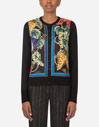 Dolce & Gabbana Cardigan In Silk Cashmere And Twill With Grape Print