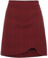 Thumbnail for your product : Ganni Asymmetric Checked Woven Mini Skirt