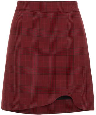 Ganni Asymmetric Checked Woven Mini Skirt