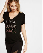 Express EXP core yoga coffee brunch graphic v-neck tee