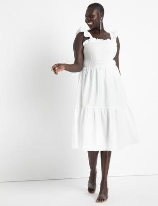ELOQUII Smocked Bodice Ruffle Day Dress