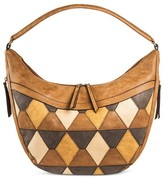 Bueno Women's Faux Leather Suede Hobo Handbag with Diamond Pattern and Zip Closure - Beige/Blue