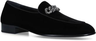 Giuseppe Zanotti Velvet Rudolph Chain Loafers