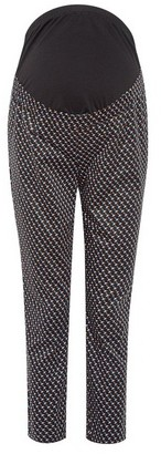 Dorothy Perkins Womens **Maternity Black Geometric Print Ankle Grazer Trousers, Black