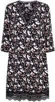 Claudie Pierlot Lace Trim Floral Dress, Black, FR 36