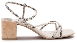 Dolce Vita Zayla Snakeskin-Embossed Leather Ankle-Strap Sandals