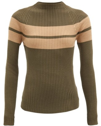 Colville - Striped Rib-knitted Wool Sweater - Khaki