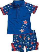 Playshoes Girl's UV Sun Protection 2 Piece Swim Set Stars Swimsuit,(Manufacturer Size:122/128 (7-8 Years))