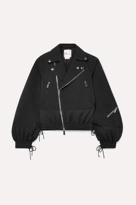Noir Kei Ninomiya Cropped Tulle-paneled Twill Jacket - Black