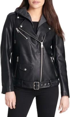 Levi's Oversized Faux Leather Motorcycle Jacket with Fleece Hood