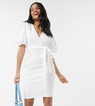 Laced In Love wrap pencil dress with puff sleeve in white