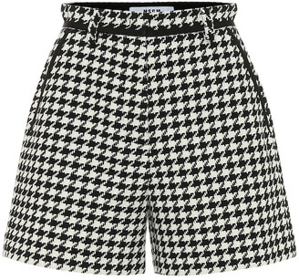 MSGM Houndstooth cotton-blend shorts